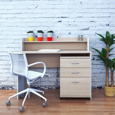 Nexera 400699 Atelier Desk with Mobile Filing Cabinet