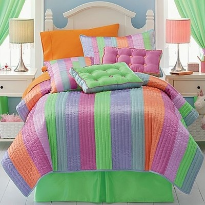 10p Twin Quilt Pink Green Blue Lavender Orange Sheets Val