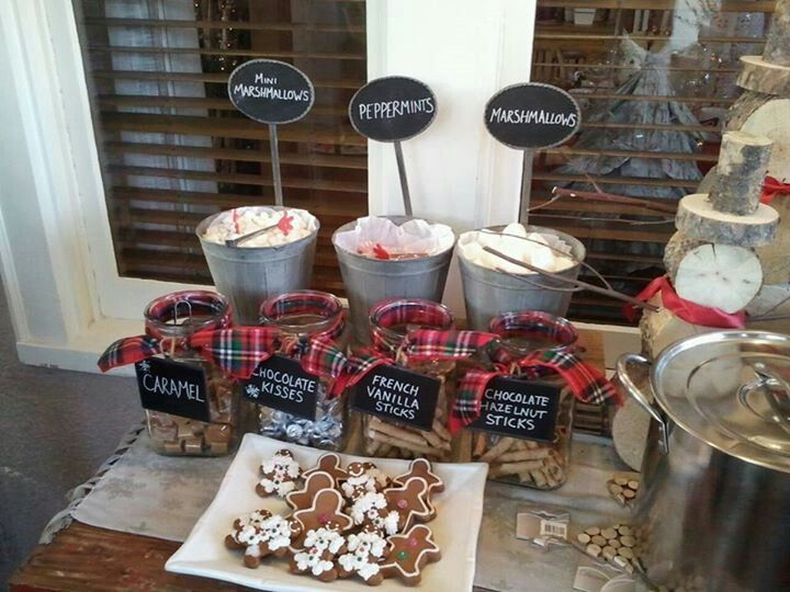 Hot chocolate bar.  Juliana did this at our holiday open house.  Fantastic idea and it was a hit!