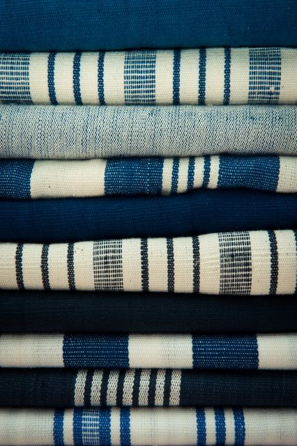 """Tissu Kas"" ~ Blue & White Striped Fabric made in Africa ....  by Tensira ...."