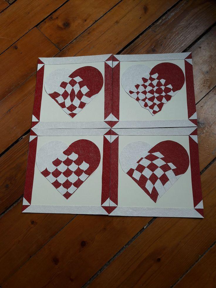 Cartes de Saint Valentin en papier tressé