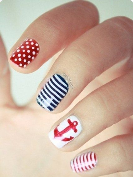 Anchor nails, August nails, Manicure by summer dress, Manicure for swimsuit, Marine nails, Nails nautical, Nautical nails, Original nails