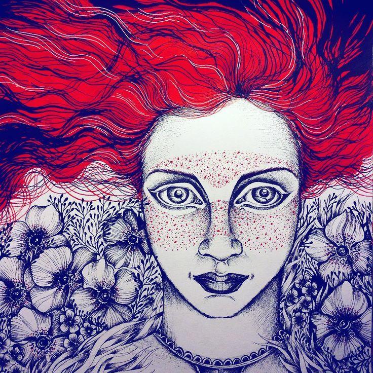 """""""Огненная челка,рыжий цвет волос, Яркие веснушки украшают нос..."""" #art #arigart #artist #artsy #ink #instaart #artoftheday #best #graphic #picture #pictureoftheday #instagood #drawing #portrait #illustration #gallery #flowers #nature #painting #girl #лето #красота #художник #рисунок #портрет #цветы #summer #myart #иллюстрация #artwork"""