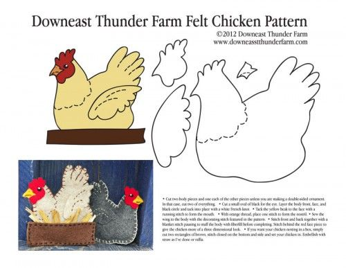 A Buff In The Box Felt Chicken Ornament Pattern Thema
