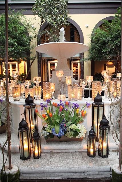 Elegant courtyard fountain decoration at Hotel Mazarin. Photo credit: New Orleans Weddings Magazine www.hotelmazarin.com