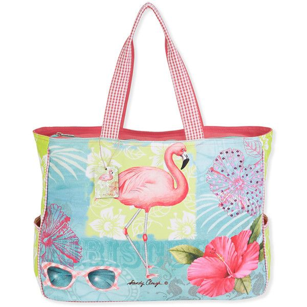 Sandy Clough Coral & Blue Flamingo Oversize Tote ($27) ❤ liked on Polyvore featuring bags, handbags, tote bags, oversized tote, oversized tote bags, oversized tote handbags, oversized handbags and white cotton tote bag