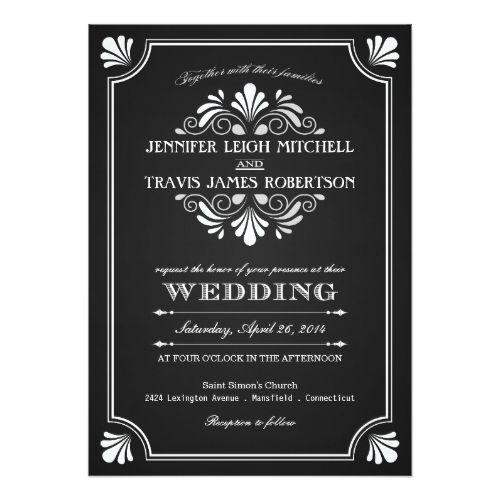 Art Deco Ornate Chalkboard Wedding Invitations   Zazzle.com