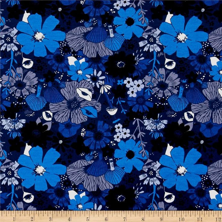 Cotton + Steel Jersey Knit Dress Shop Bouquet Moody Blue from @fabricdotcom Designed by Sarah + Melody for Cotton + Steel, this lovely medium weight cotton jersey knit fabric is super versatile. With 40% four-way stretch, this printed cotton jersey is perfect for whimsical knit dresses and skirts that are gathered or lined, t-shirts, children's apparel, and pajamas. Colors include shades of blue, grey, and cream.