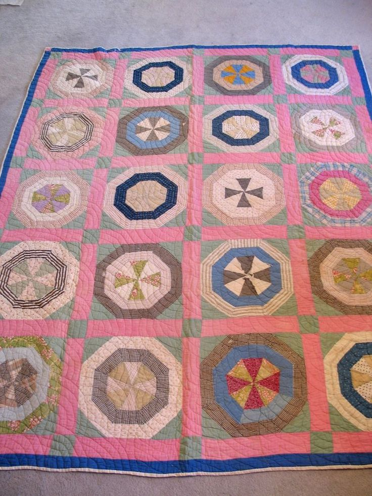 Very Graphic Antique 1880's Calico Hand Quilted Large Quilt, eBay, old*paris*vintage