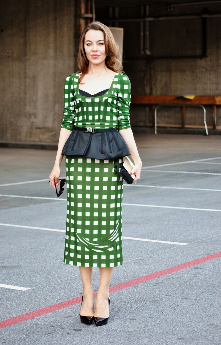 Ulyana Sergeenko Green Prada Dress With Prada Peplum Belt Ulyana Sergeenko Pinterest Prada