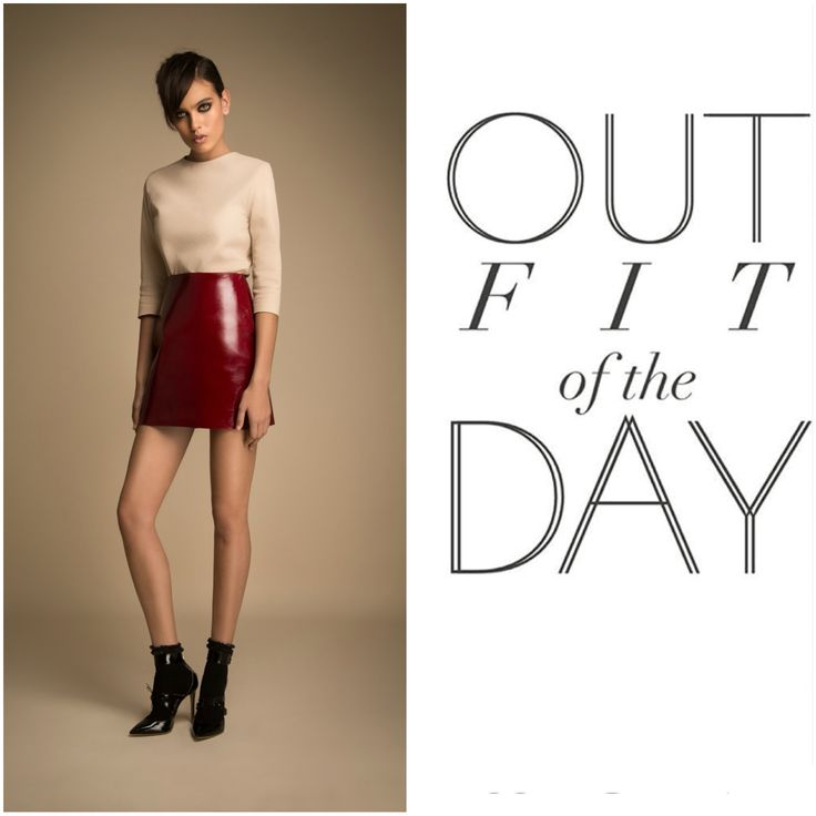 Outfit of the day ! Dark red patent leather skirt and nude suede leather top ! Buy your now on www.manokhi.com
