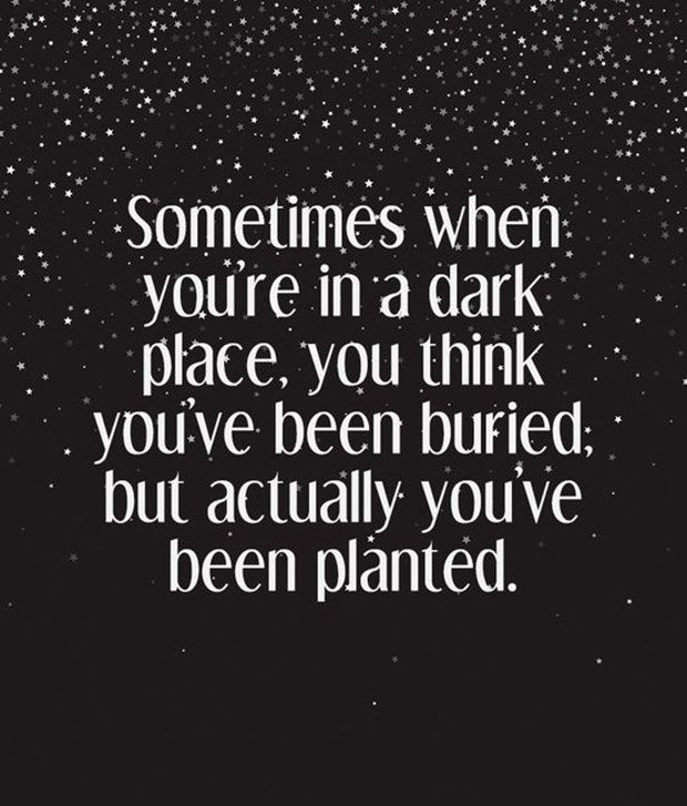 """""""Sometimes when you're in a dark place, you think you've been buried, but actually you've been planted."""""""