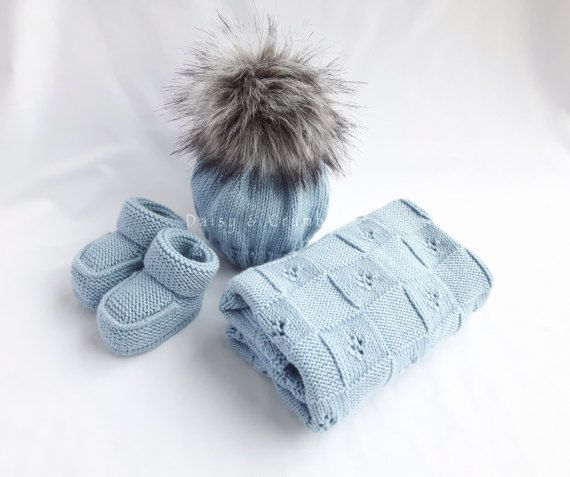 Baby layette-baby blanket hat and booties set-hand knitted