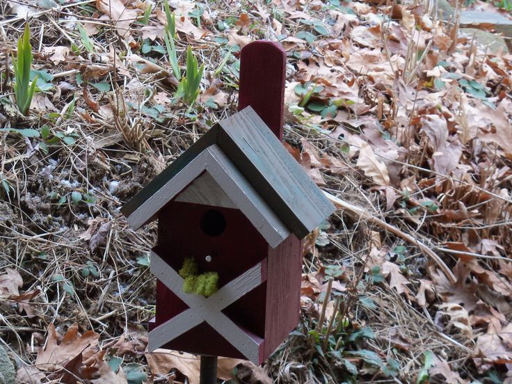 A personal favorite from my Etsy shop https://www.etsy.com/listing/270720005/red-farmhouse-birdhouse