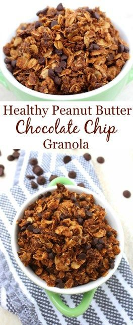 Healthy Peanut Butter Chocolate Chip Granola is the perfect sweet & salty snack. 6 ingredients, vegan & gluten free -you'll want to eat it by the handful!
