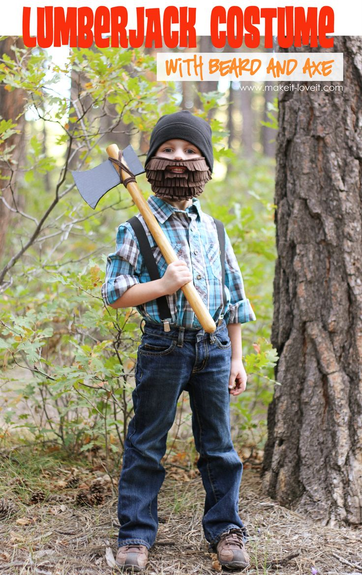 Lumberjack Halloween Costume Idea....with homemade Beard and Axe.  Quick and fun.....and inexpensive! :) www.makeit-loveit.com