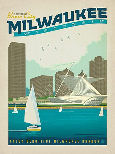Milwaukee, Wisconsin: Harbor - Anderson Design Group has created an award-winning series of classic travel posters that celebrates the history and charm of America's greatest cities and national parks. This print features a lakeview of Milwaukee with the iconic Museum of art on the shore. Printed on heavy gallery-grade matte finished paper, this print will look great on any home or office wall.