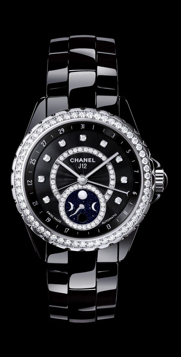 CHANEL J12 Moonphase Black Ceramic with Diamonds