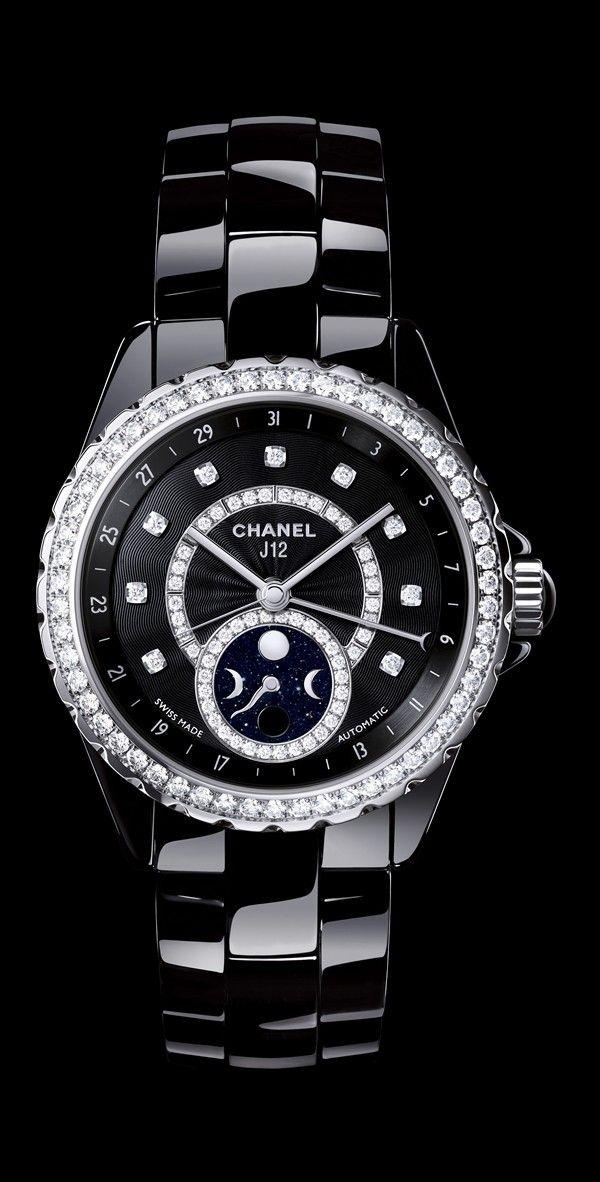 CHANEL J12 Moonphase Black Ceramic with Diamonds