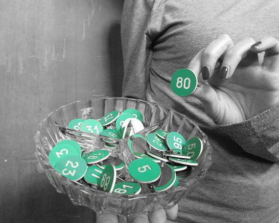 Vintage Green Pin With Number OOAK for each number by GingerLab, €6.00
