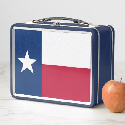 Metal Stainless Lunchbox with Texas State flag - home gifts ideas decor special unique custom individual customized individualized