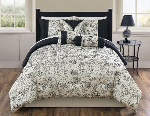 "11 Piece King Miranda Flocking Bed in a Bag Set by KingLinen. $124.99. This elegant comforter set features floral flocking on ivory ground, an eclectic set that will be great for any bedroom.. 3 decorative pillows included.FeaturesSize: KingColor: Sage/Ivory100% PolyesterMachine washableThis set includes:1  Comforter (101""x86"")2  Shams (20""x36"")1  Bedskirt(78""x80""+14"")3  Decorative Cushions Plus 300 Thread Count Cotton Sheets:2 King pillowcases (20"" x 40"")1 King flat ..."