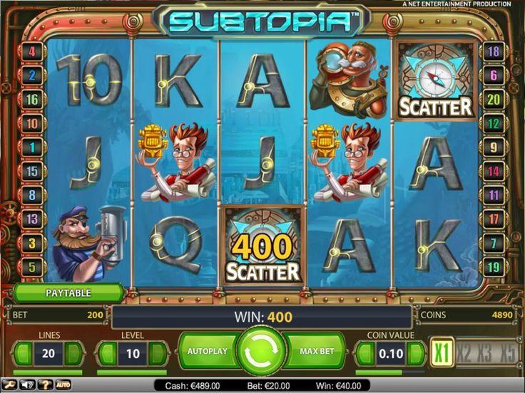 Slotmaskin Subtopia - Subtopia er en slot som har tema under vann. Subtopia er et ordspill på de to ordene «submarine», som betyr ubåt, og «utopia» som betyr paradis. Med andre ord vil dette spillet formidle et slags paradis under vann.