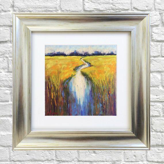 Original Pastel Painting Small Stream by Bluishpurpletrees on Etsy
