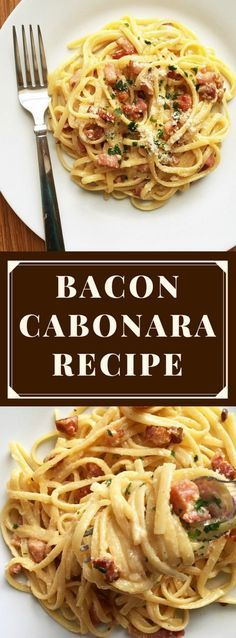Classic bacon carbonara recipe with parmesan cheese and eggs. If you like pasta, you will love this ever so popular Italian dish. No cream, no complicated sauces, just the real deal. The creamy carbonara sauce can't be any simpler.