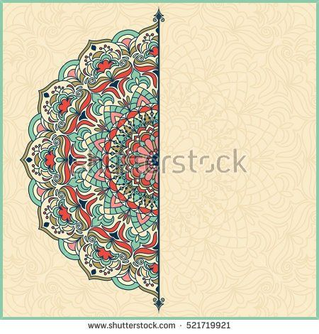 Wedding invitation or greeting card with colorful floral mandala   Place for your text.  Vintage decorative elements. Vector illustration.