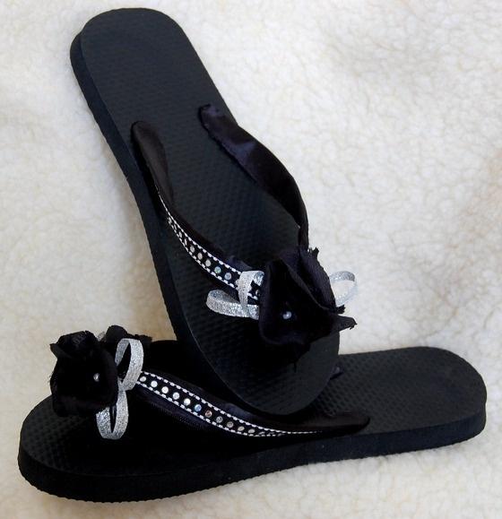 Black & Silver Jeweled Designer Flip Flops $25.00
