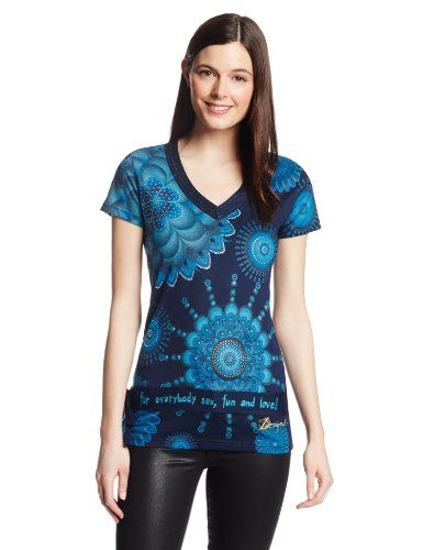 Desigual Inca - Maglietta, manica corta, donna, Blu (Blau (Navy)), XL -