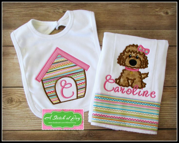 Dog and Dog House Bib and Burp Cloth Set, Baby Girl Personalized Set, Shower Gift, Puppy by AStitchofJoy on Etsy