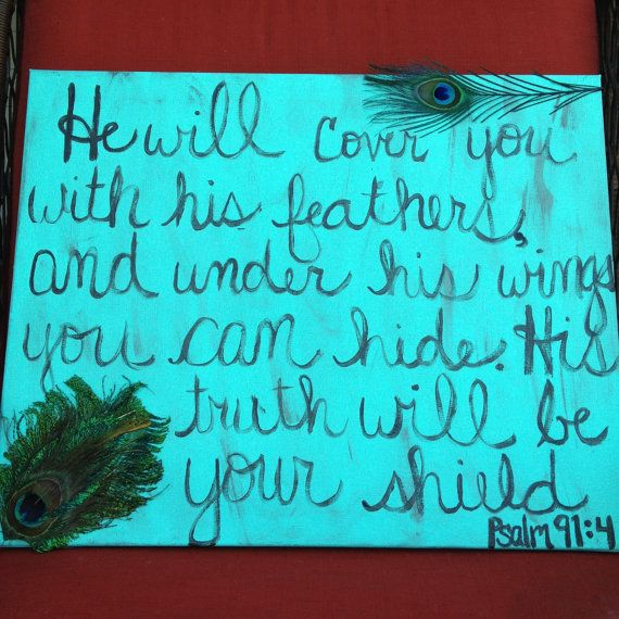 Bible Verse painting with Peacock feathers by RhinestonedhOUsewife, $25.00