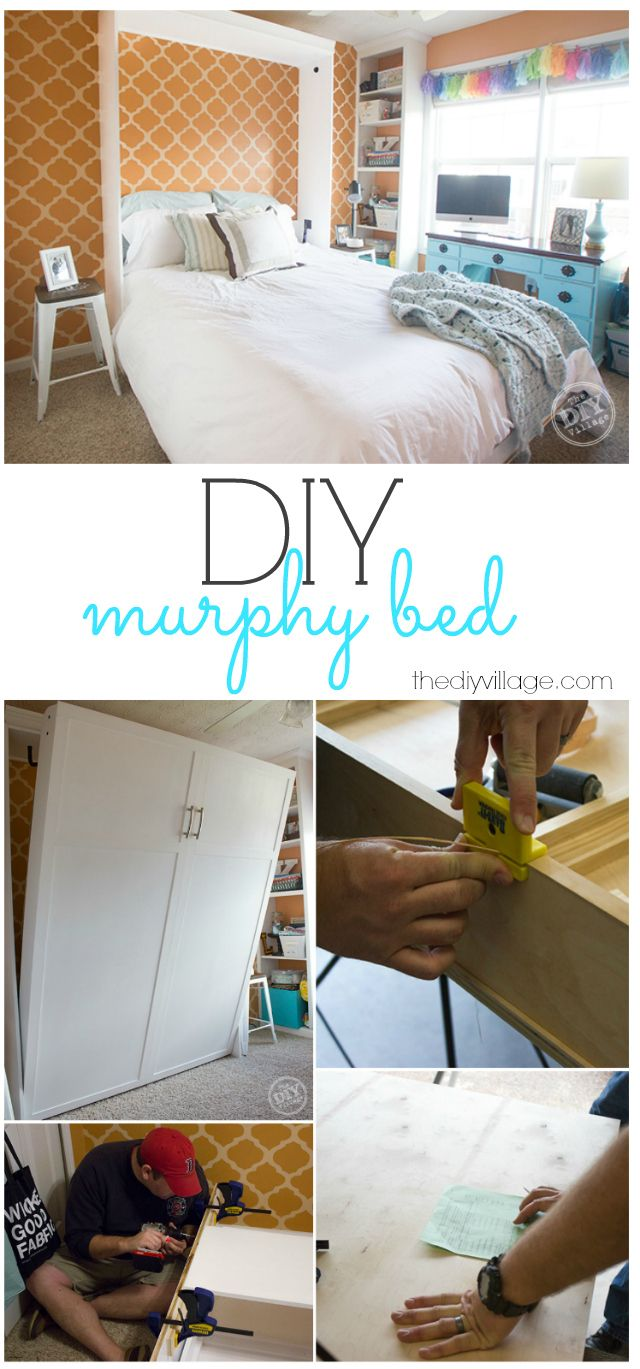 DIY murphy bed wall bed... we need one of these so bad!! {TheDIYvillage}