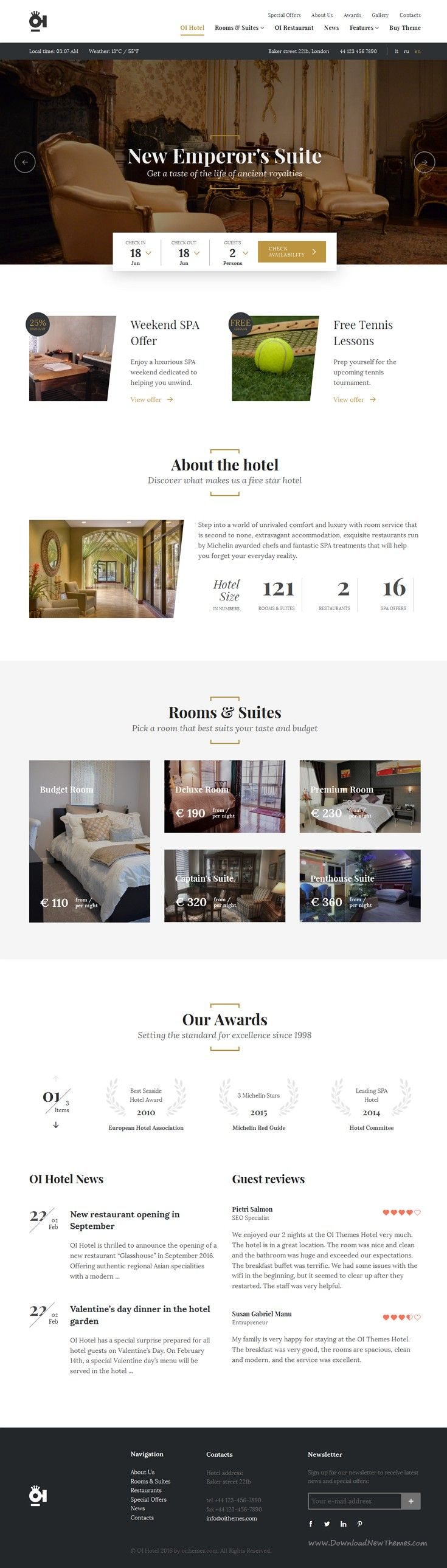 OI Hotel is wonderful full responsive WordPress #Template for luxury #hotel and…