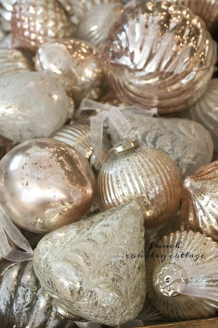 French Country blush mercury glass Christmas ornaments  -  It is no secret...  I am a huge fan of the softer side of things.   Flowers, fabrics, colors, detai...