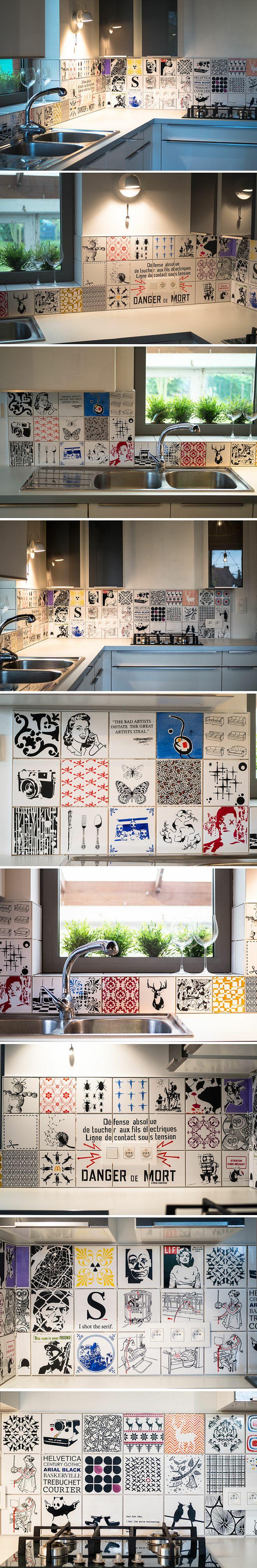 Crédence finie à 95% (il manque les joints)  (Crédence Cuisine Carrelage Tile Kitchen Art Tiles)