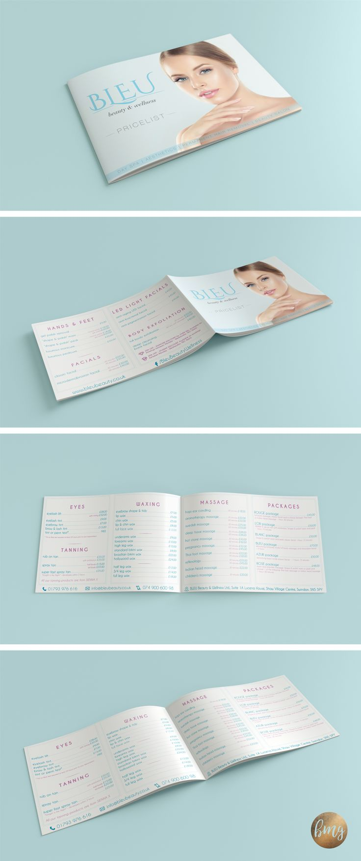 Price list design for local Day Spa & Aesthetic Clinic @BLEU Beauty & Wellness  https://www.beautymarketingguru.com/  #pricelist #logo #logodesign #marketing #beauty #beautymarketing #salonmarketing #beautysalon #spa #spamarketing #dayspa #botox #fillers #designforspa