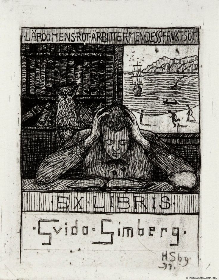 Ex Libris by Hugo Simberg (Finland, 1873-1917) ~ A key figure of the symbolist movement, Simberg was known for his unique paintings blending realistic portraiture, landscape, and fantasy, with odd figures, often featuring devils and trolls