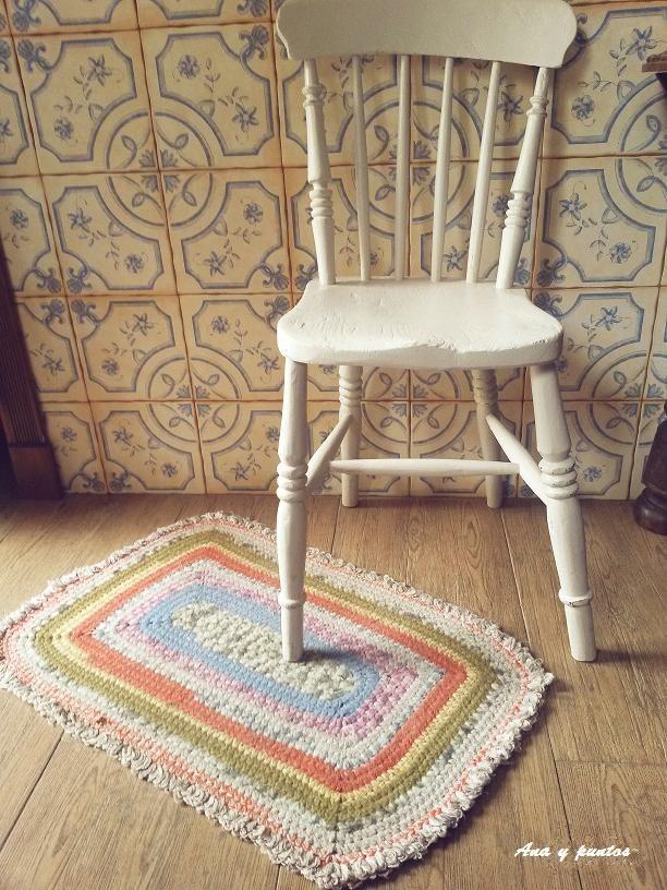 Alfombra rectangular. Crochet. Lana