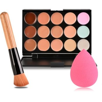 New 15 Colors Contour Face Cream Makeup Concealer Palette + Sponge Puff Powder Brush