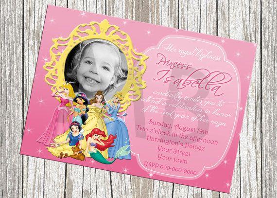 Disney Princess Photo Birthday Invitation by mommybrain2designs, $11.99