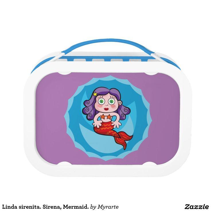 Linda sirenita. Sirena, Mermaid. Producto disponible en tienda Zazzle. Product available in Zazzle store. Regalos, Gifts. Link to product: http://www.zazzle.com/linda_sirenita_sirena_mermaid_lunch_box-256582070998215140?CMPN=shareicon&lang=en&social=true&rf=238167879144476949 #lonchera #LunchBox #sirena #mermaid