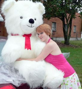 Giant Teddy Bear 54 Inch White Soft Huge Teddybear Made In USA America,  Weighs 18