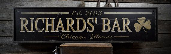 Custom Bar Est. Date and City State Sign  by TheLiztonSignShop