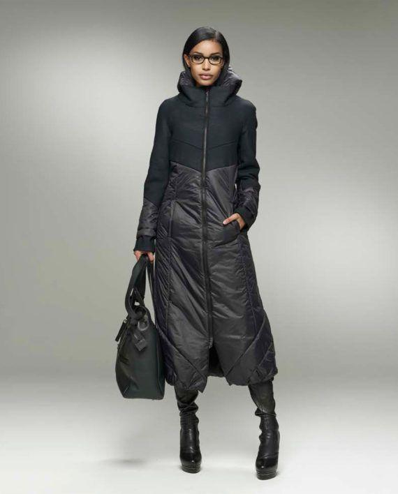 Эффектное пальто из смесовой ткани, с объемным верхом и завышенной линией талии.