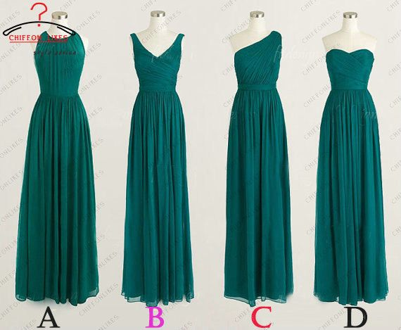 Tea length chiffon teal green bridesmaid dresses by chiffonlikes, $95.00 This is the idea for different types of dresses but also to have different shades of blue and green.