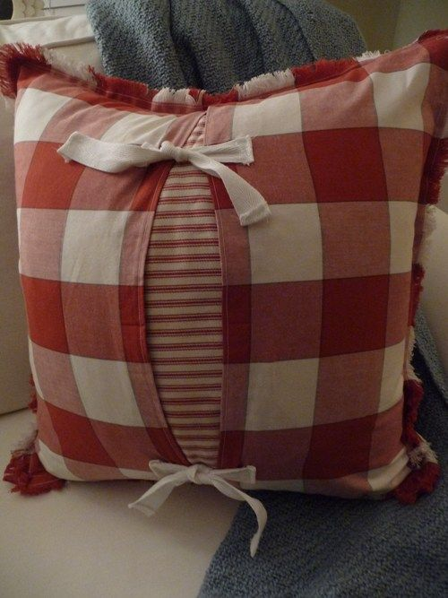 Pottery Barn napkin pillow. Made this pillow from 2 Pottery Barn napkins.  click link for the How-to.