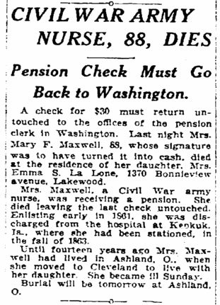 """Obituary for Civil War nurse Mary Maxwell, published in the Plain Dealer newspaper (Cleveland, Ohio), 13 January 1924. Read more on the GenealogyBank blog: """"Civil War Nurse Mary Maxwell Featured in OGSQ."""" http://blog.genealogybank.com/civil-war-nurse-mary-maxwell-featured-in-ogsq.html"""